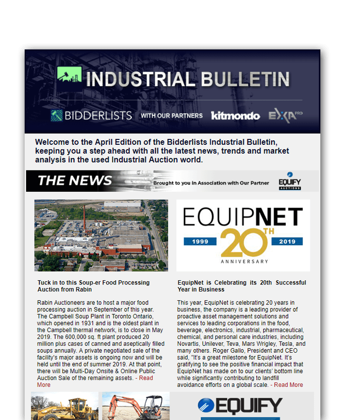 bidderlists industrial bulletin